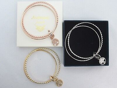 Genuine Arabesques Jewels Joined Stacking Charm Bangle/Bracelet. Tree Of Life
