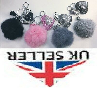 Real Rabbit Fur Pompom With Diamante Heart Pendant Key Ring, Charm.
