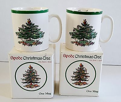 Spode Christmas Tree coffee mugs 2 NEW IN BOX vintage Made in England cup S3324