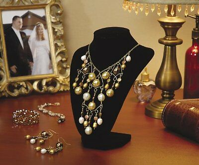 Velvet Jewelry Stand, 9-Inch, Black Standing Necklace Display