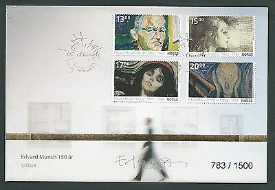 Norway 2013 Munch Art  First Day Cover Pristine
