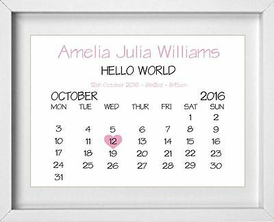 NEW BORN BABY GIRL | Nursery Calendar Picture | Personalised | Pink | (NP116)