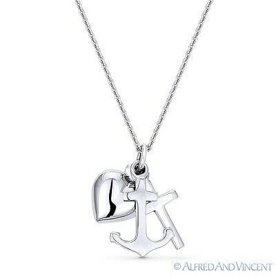 Anchor, Cross, & Heart Charm .925 Sterling Silver Pendant & Cable Chain Necklace