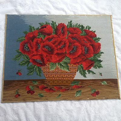 Large Petit Point Poppies  in Vase - Very Well Done and ready for Framing 708