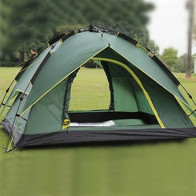 Instant Automatic Pop Up Backpacking Camping Hiking 4 Persons Tent Green