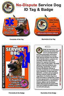 Service Dog ID Tag and Badge custom made with your dog info/photo pet ID Card