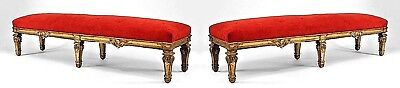 Pair of French Louis XIV Style (19th Cent) Carved Gilt Wood Benches