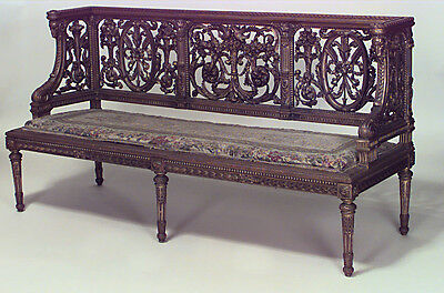 French Louis XVI Style (19th Cent) Gilt and Filigree Carved Back Settee
