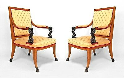 Pair of Italian Neo-Classic Style (19th Cent) Maple Open Arm Chairs