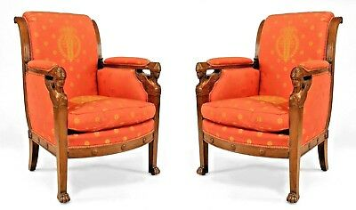 Pair of French Empire Mahogany Bergeres (arm chairs) Upholstered in Red Silk