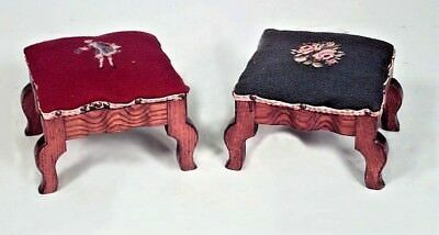 Pair of French Victorian Rectangular Foot Stools with Needlepoint Upholstery