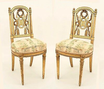 Pair of French Louis XVI Style (19th Cent.) Gilt Side Chairs
