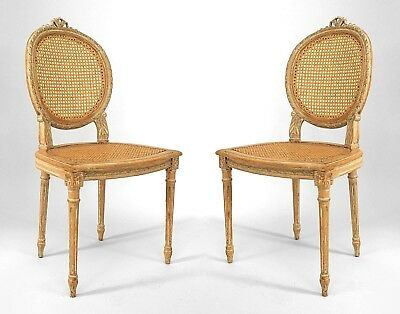 Pair of French Louis XVI Style (19/20th Cent) Bleached Side Chairs
