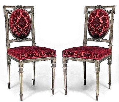 Pair of French Louis XVI Style (Late 19th Cent.) Gilt Square Back Side Chairs