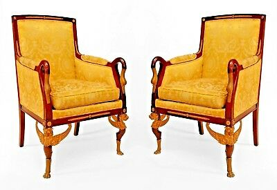 Pair of French Empire Style (19th Cent) Mahogany Swan Design Bergere Arm Chairs