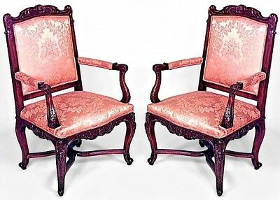 Pair of French Regency Style (19th Cent.) Walnut Arm Chairs with Gold Upholstery