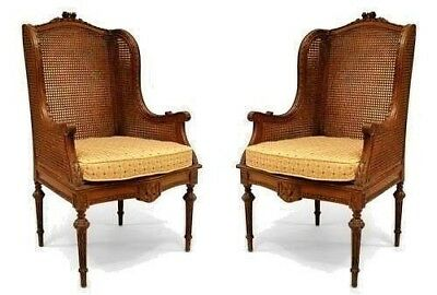 Pair of French Louis XVI Style (19th Cent.) Oak Wing Chairs with Carved Frame