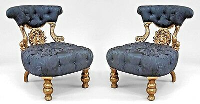 Pair of Italian Venetian Style (19th Cent.) Silver Gilt Dolphin Side Chairs