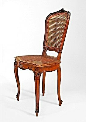 French Louis XV Style (19/20th Cent) Walnut Side Chairs with Cane Seats