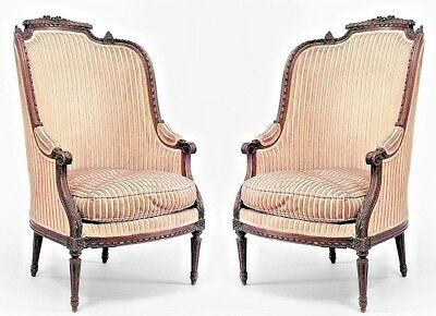 Pair of French Louis XVI Style (19th Cent.) Walnut Bergere Arm Chairs