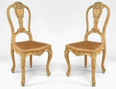 Pair of French Louis XV Style (19th Cent) Stripped Side Chairs