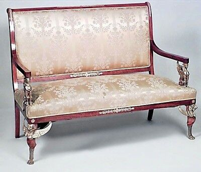 French Empire Style (19th Cent) Mahogany 5 Piece Salon Set with Bronze Trim