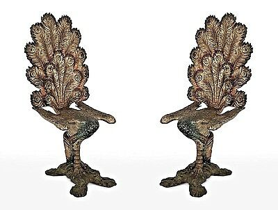 Pair of Italian Venetian Style (19th Cent) Carved Peacock Design Side Chairs