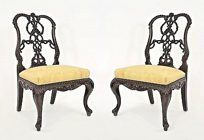 Pair of English Chippendale Style (19th Cent) Mahogany Ribbon Back Side Chairs