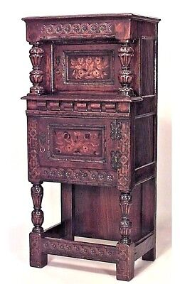 Italian Renaissance Style Tall and Narrow Oak Carved Cabinet with 2 Inlaid Doors