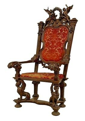 French Empire Style (19th Cent) Monumental Walnut Throne Chair