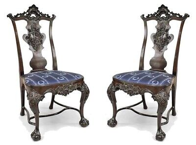 Pair of English Georgian Style Carved Mahogany Armorial Splat Back Side Chairs