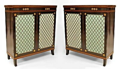 Pair of English Regency style ebonized 2 grill door commodes with brass inlay an