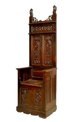 English Gothic Revival Style (19th Cent) Oak High Back Bishops Throne Chair