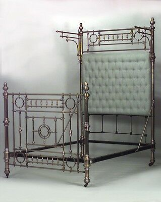 American Victorian style brass full size bed of open spindle design & celadon co