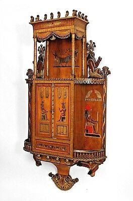 Egyptian Style Painted Hanging Wall Cabinet with Carved & Decorated Figures