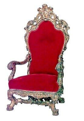 French Regency Style (19th Cent) Gilt Throne Chair with Carved Back Crest
