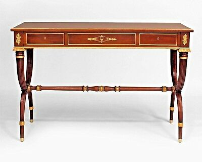 Pair of English Regency Style (19th Cent) Mahogany Fluted Console Tables