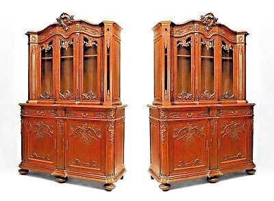 Pair of French Regency Style (19th Cent) Carved Oak Breakfronts