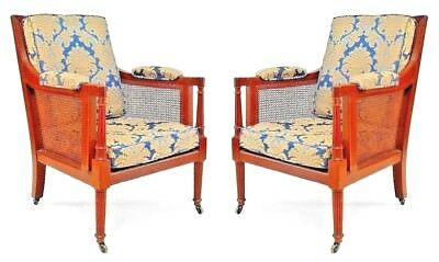 Pair of English Regency Style Oak Library Arm Chairs with Cane Side Panels
