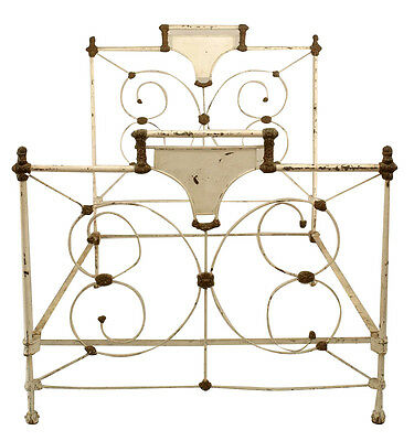 American Victorian style white and gold trim painted iron full size bed with scr
