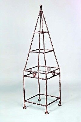 Rope and Tassel Design Gilt Metal Obelisk Shaped 4 Shelf Etagere (20th cent.)