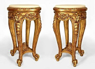 Pair of French Regence Style (19th Cent) Gilt and Carved End Tables