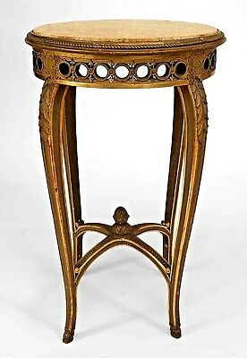 French Regence Style (19th Cent) Round Gilt Wood End Table with Circle Filigree
