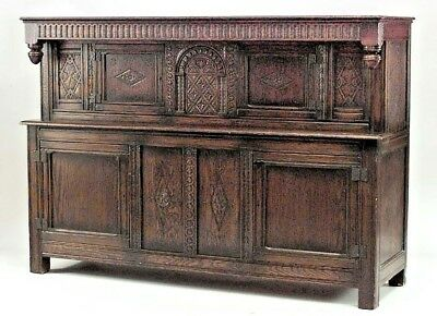 English Renaissance Style (19th Cent) Oak Carved Sideboard Cabinet