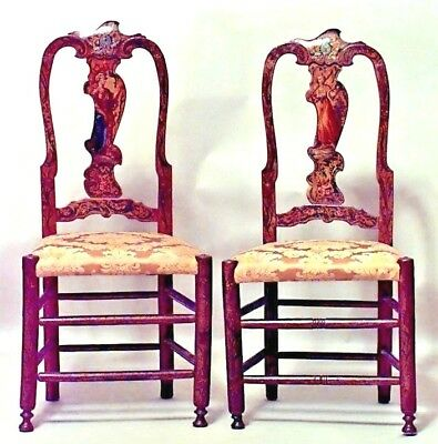 Pair of Italian Venetian Style (18/19th Cent) Painted Splat Back Side Chairs