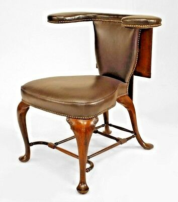 English Queen Anne Style (19th Cent.) Oak Reading Chair with Brown Leather
