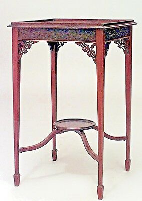 English Chinese Chippendale Style Line Inlaid Mahogany End Table