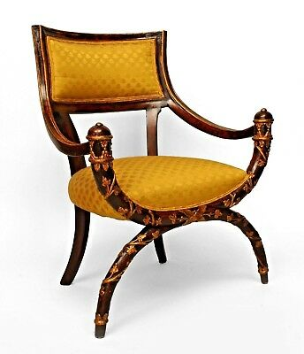 Italian Neo-classic Style (19th Cent) X Design Maroon Lacquered Arm Chair