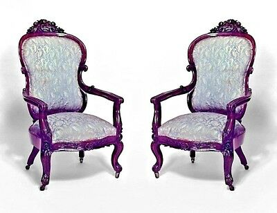 Pair of American Victorian Rosewood Arm Chairs