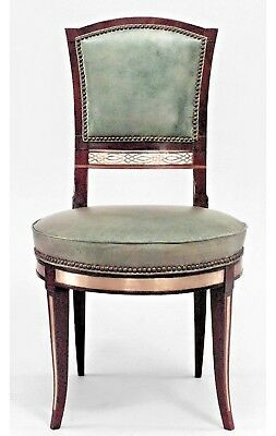 Set of 8 Russian Neoclassic Mahogany & Brass Mounted Side Chairs